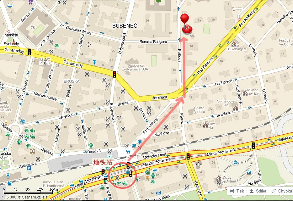 中国驻捷克大使馆地图
