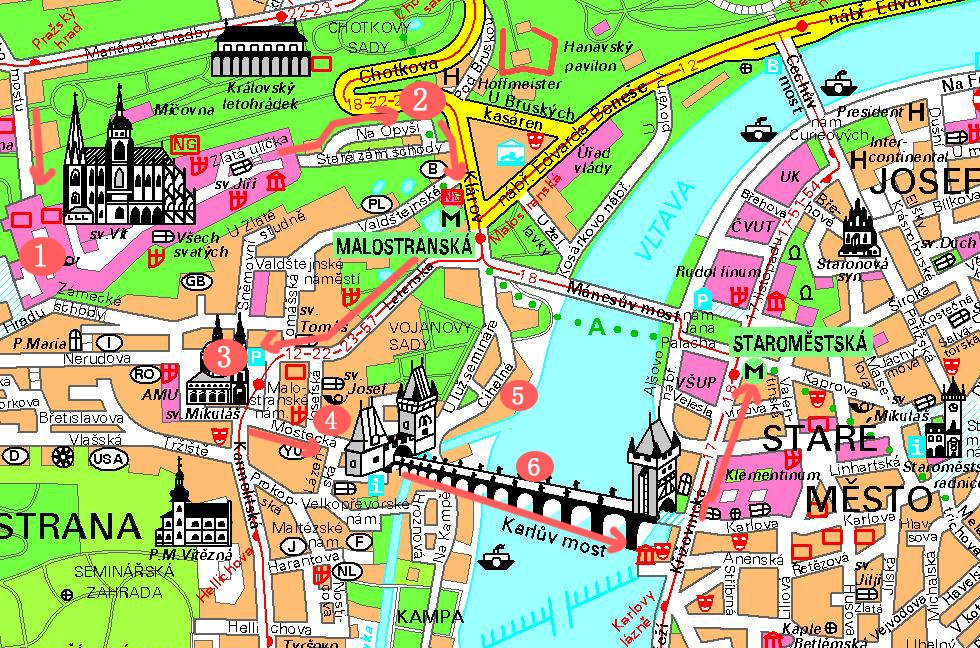 第一天布拉格景点地图