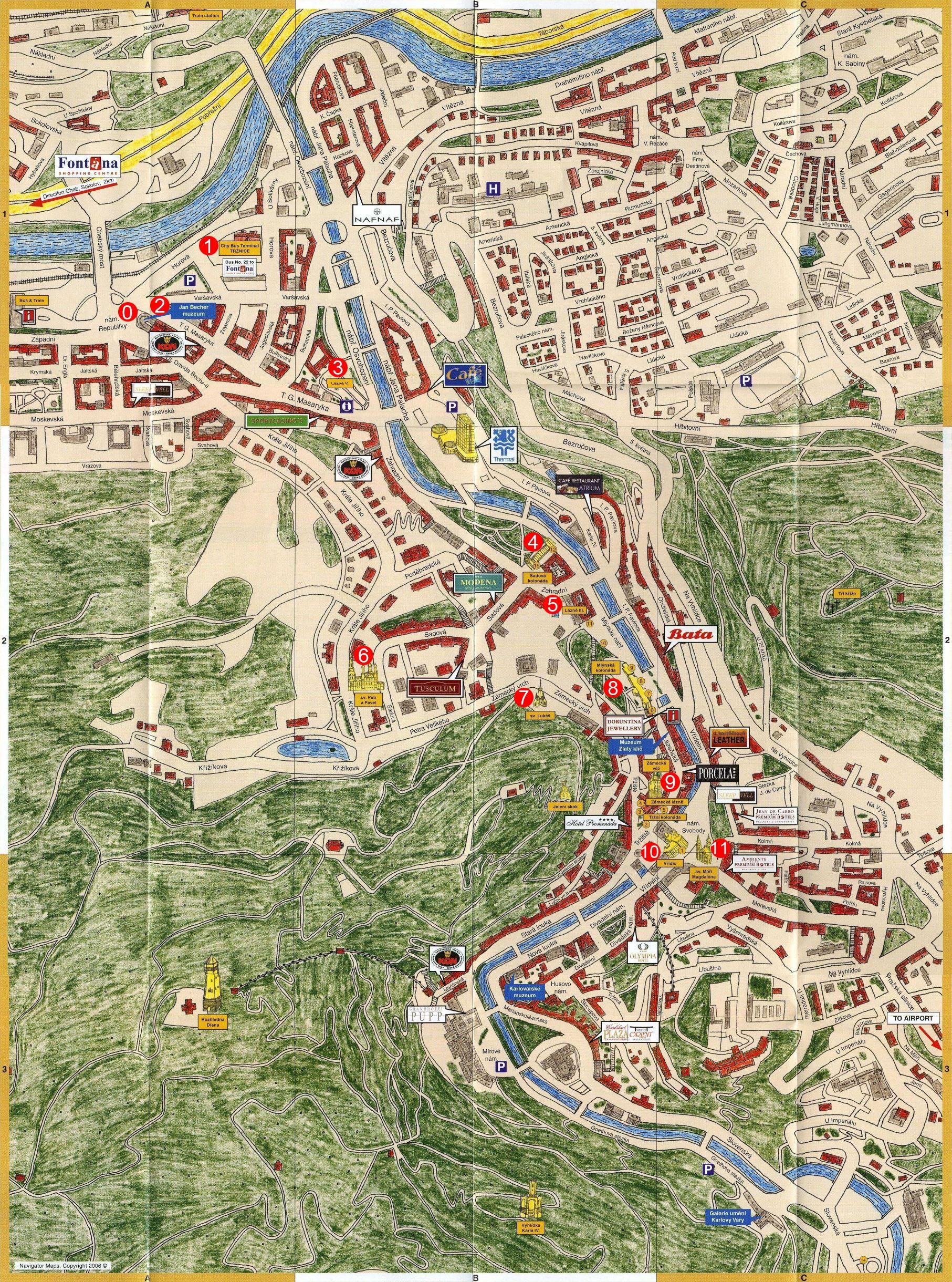 卡罗维发利旅游地图
